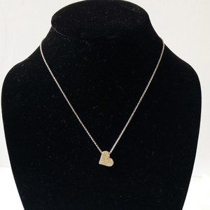 Lia Sophia Pave Crystal Reversible Silver Necklace